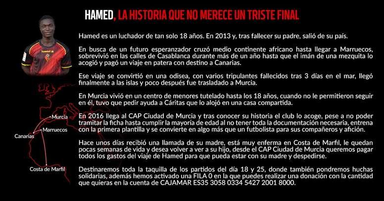 El club murciano está buscando ayuda para Hamed Sako. CiuadddeMurcia