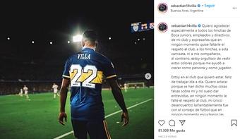 Villa replicó a Riquelme. Instagram/sebastian14villa