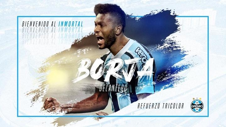 Miguel Borja jugará cedido en Gremio. Twitter/gremio_es