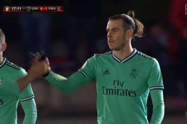 Real Madrid saiu na frente do Unionistas com um gol de Gareth Bale, que não comemorou. Captura/DAZN