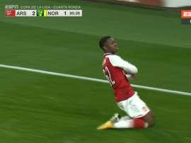 Nketiah igualó la contienda ante el Norwich nada más pisar el césped. Twitter/ESPN