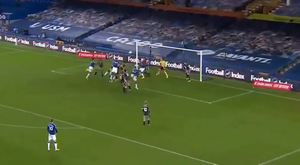 Cross from James and header from Mina. Screenshot/FACup