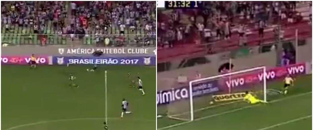 Rómulo Otero a marqué un superbe but en championnat brésilien. Twitter