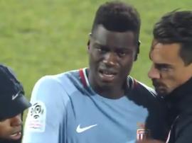 Badiashile lloró tras la derrota del Mónaco. Captura/beINSports