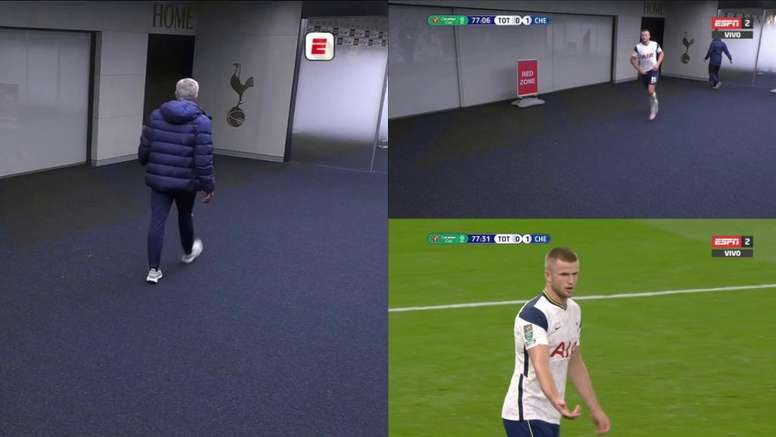 Eric Dier went to the toilet and Mourinho called him back. Captura/ESPN