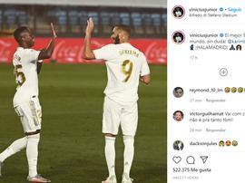 Vinicius hails Benzema. Instagram/ViniciusJunior