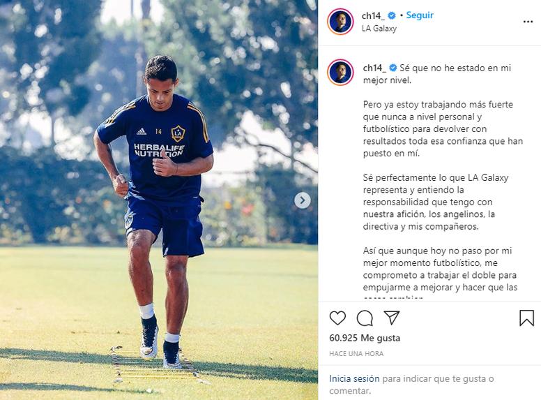 Chicharito pidió perdón a la afición. Instagram/ch14_