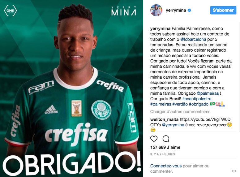Yerry Mina se despidió de Palmeiras. YerryMina