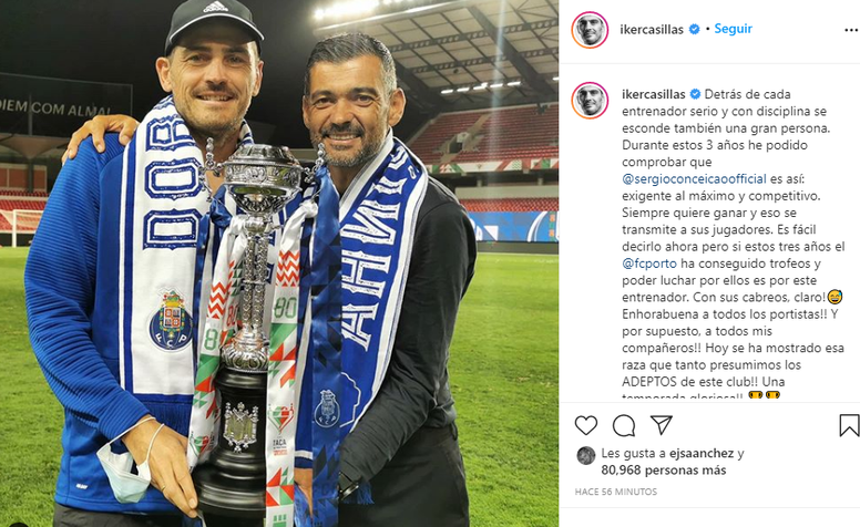 Casillas thanked Conceicao for the gesture. Instagram/ikercasillas