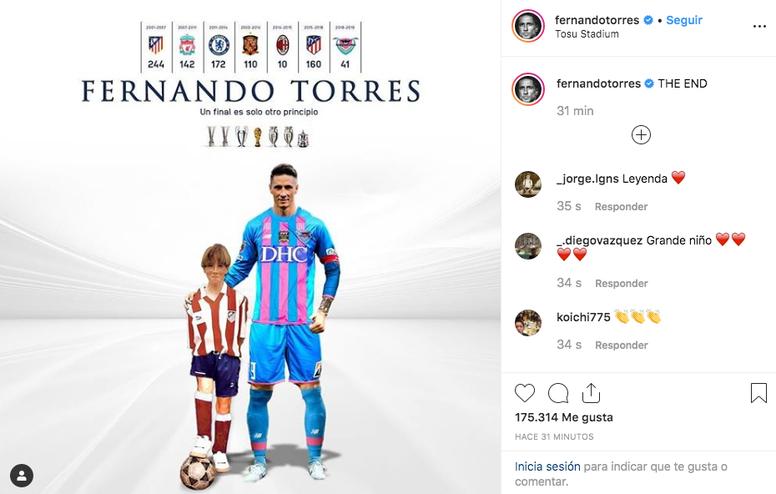 Torres dijo adiós. Instagram/FernandoTorres