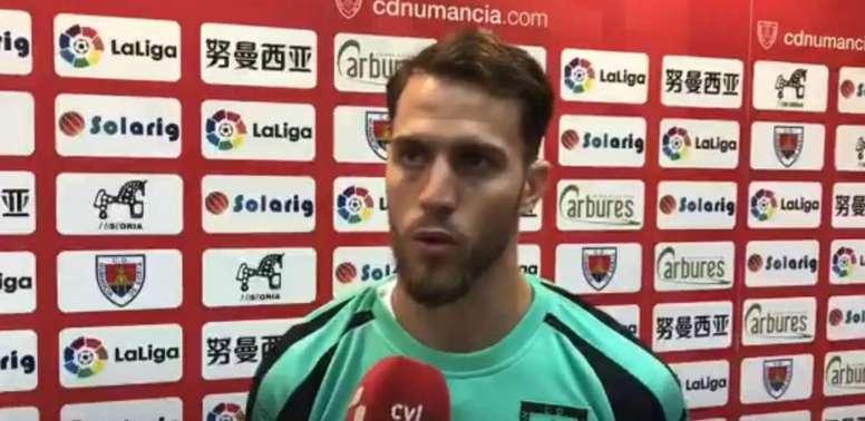 Calero dio la clave para ganar al Lugo. Captura/CDNumancia