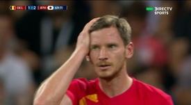 Bélgica empató en cinco minutos. Captura/DirecTVSports