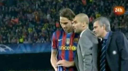 Mourinho revelou o que disse a Guardiola no Barça-Inter. Captura/RTVE