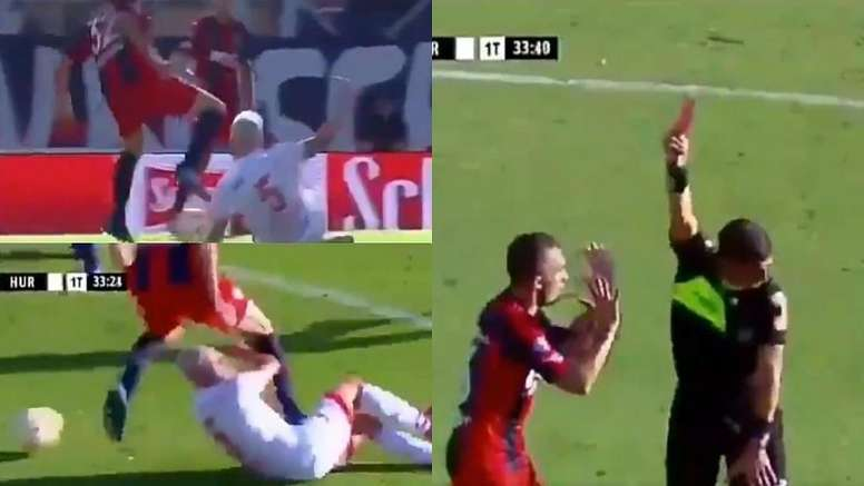 Coloccini vio la roja por la acción. Captura/TNTSports