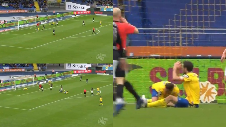 Falló y evitó el gol de su compañero. Captura/NDR