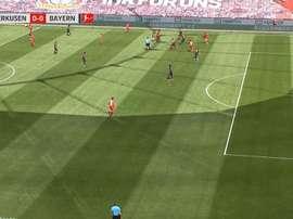 Alario segna il primo goal. LigadeCampeones