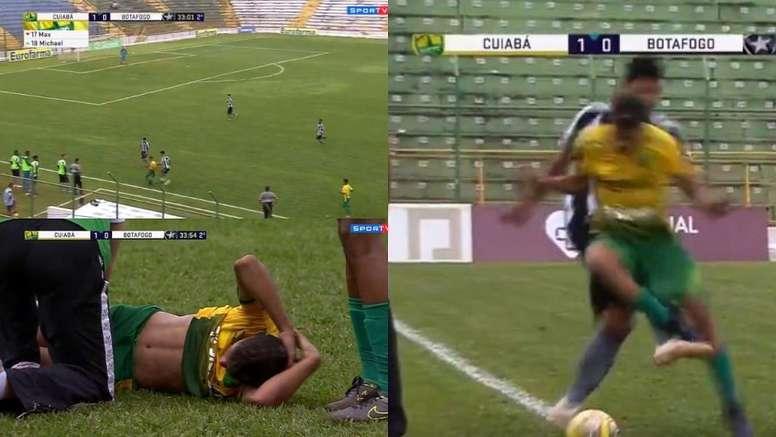 El futbolista estuvo varios minutos doliéndose en el césped. Captura/SporTV