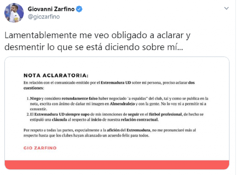 Zarfino tuvo que aclarar varios puntos. Captura/Giozarfino
