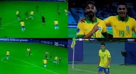 La magia de Reinier: taconazo para asistir con Brasil. Captura/SporTV