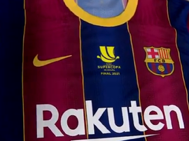 The top Barca will wear for the Super Cup final. Screenshot/FCBarcelona