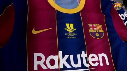 La camiseta con la que jugará la final el Barcelona. Captura/FCBarcelona