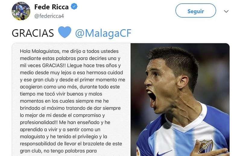 La sentida carta de despedida de Ricca al malaguismo. Twitter/FedeRicca4