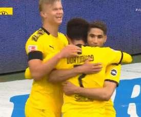 Connexion Sancho-Achraf pour le deuxième but de Dortmund. Capture/Vamos