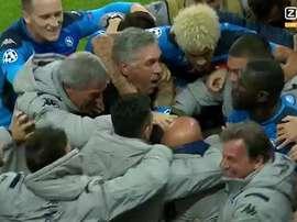 Insigne firmó la paz con Ancelotti en el momento de mayor euforia. Captura/ZSportsSelect