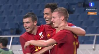 Spain u23 have qualified for the quarter-finals. Screenshot/La1