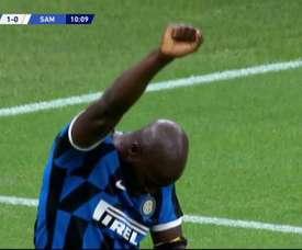 Lukaku dedicated his goal to George Floyd. Screenshot/ESPN