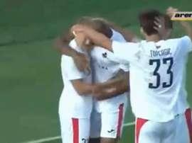 El conjunto chipriota cayó 3-1 en Lituania. Captura/ArenaSport3