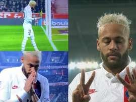 Neymar marcou um belo gol e passou uma mensagem através das câmeras. Captura/MovistarLigadeCampeones