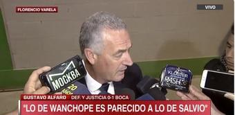 Alfaro habló tras el triunfo de Boca ante Defensa. Captura/ESPN