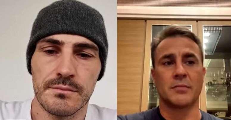 Casillas e Cannavaro conversaram sobre a situação atual com o coronavírus. Captura/Instagram