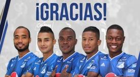 Payares, Carlos López, Jaír Palacios, Álex Rambal y Fabián González. Twitter/Millonarios