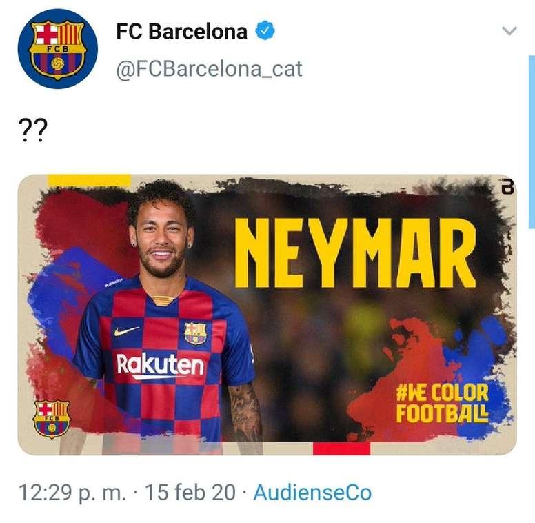 Le compte Twitter du Barça se fait hacker et annonce le retour de Neymar. Capture/FCBarcelone