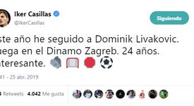 Casillas recomendó al meta Livakovic. Twitter/IkerCasillas
