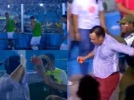 Los jugadores lo denunciaron y la policía lo sacó del estadio. Captura/Globoesporte