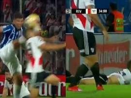 Montiel sufrió la entrada más dura del partido. Captura/FoxSports