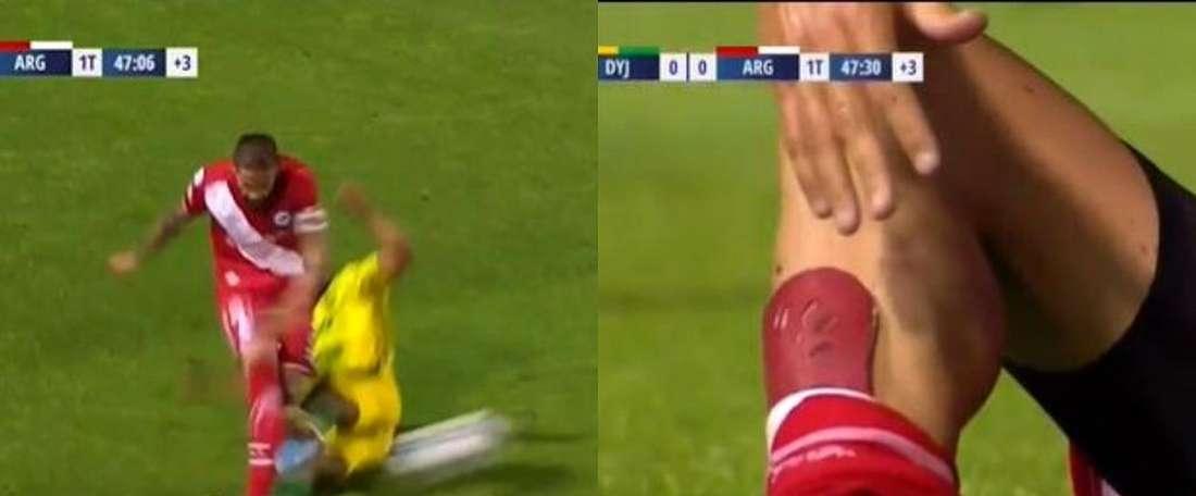 A perigosa entrada de Delgado que só levou amarelo. Captura/FOXSports