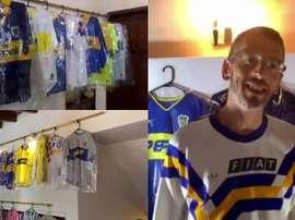 Vive en Quito y es un loco de Boca... ¡tiene 224 camisetas! Captura/ESPN