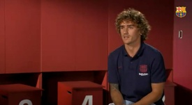 Antoine Griezmann heaped praise on Leo Messi in his interview with the club. Captura/FCBarcelona