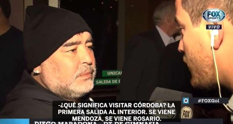 Maradona llegó a Córdoba con las expectativas por las nubes. Captura/FOXSports