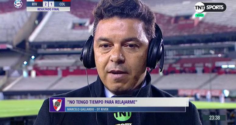 Gallardo volvió a hablar sobre su continuidad en River. Captura/TNTSports