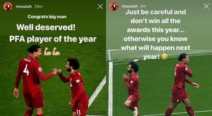 El vacile de Salah a Van Dijk por su reciente premio. Instagram/MohamedSalah