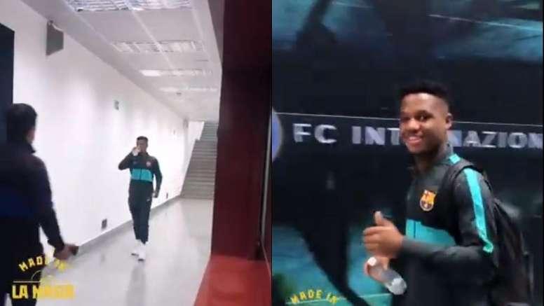 Así sale un niño de 17 años de un estadio mítico tras hacer historia. Instagram/FCBarcelona