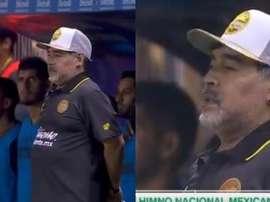 Maradona pronunció las últimas palabras del himno mexicano. Captura/ESPNDeportes