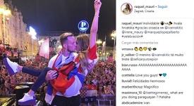 La pareja festejó el rendimiento de los balcánicos en el Mundial. Instagram/RaquelMauri