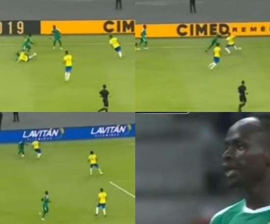 Quand la tornade Mané efface Alves, Arthur et Casemiro sur son passage. Capturas/DAZN