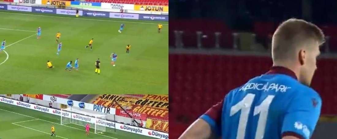 Sorloth earned a penalty after running 70 metres. Capturas/Twitter